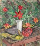 Theodor Pallady - Natură moartă cu lalele, evantai şi mască roşie