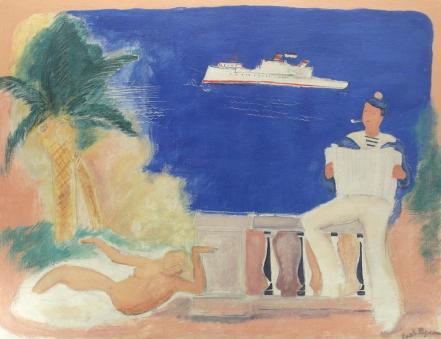 Vasile Popescu - Compoziţie cu marinar şi sirenă