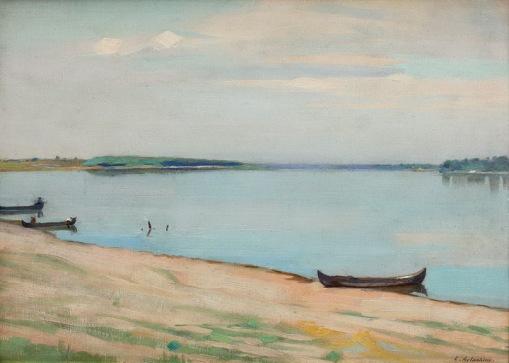 Constantin Artachino - Luntre pe malul Dunării