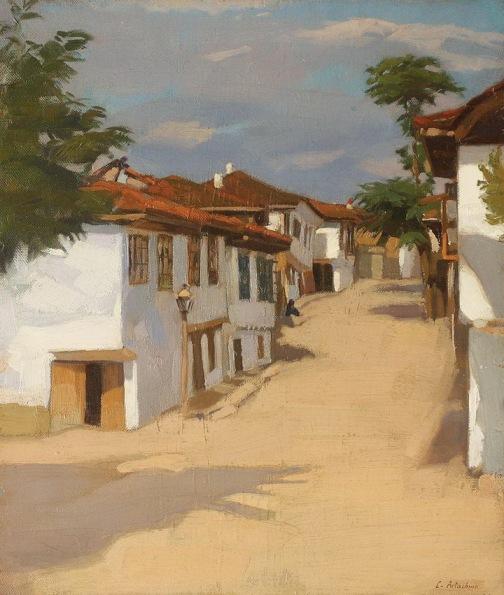 Constantin Artachino - Peisaj cu case la Balcic