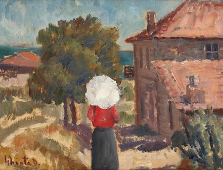 Dumitru Ghiaţă - La promenadă (Umbrela albă)