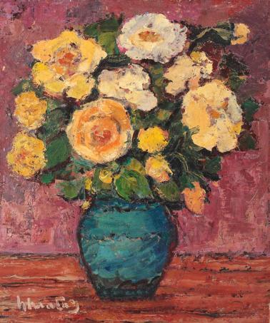 Dumitru Ghiaţă - Ulcică cu trandafiri galbeni