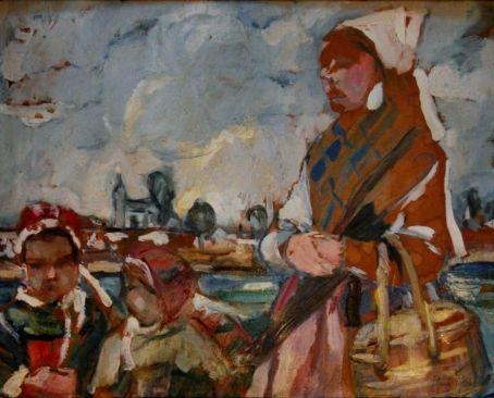 Elena Popea - Femeie bretona cu doi copii