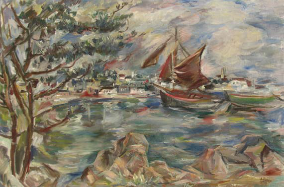 Elena Popea - Peisaj marin cu barci