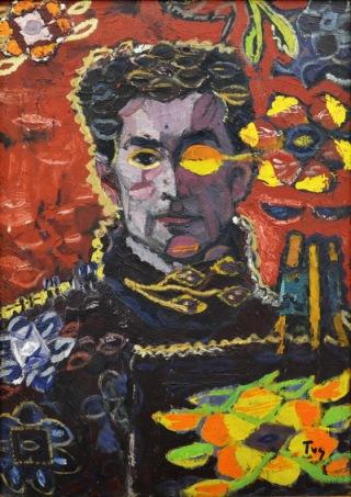 Ion Ţuculescu - Autoportret cu frunza.