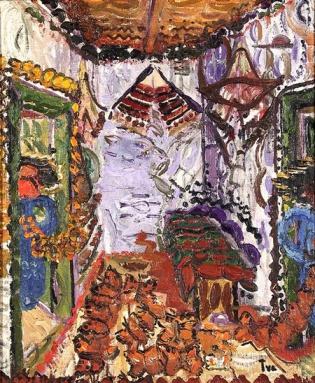 Ion Ţuculescu - Interior Rural  cu Covoare