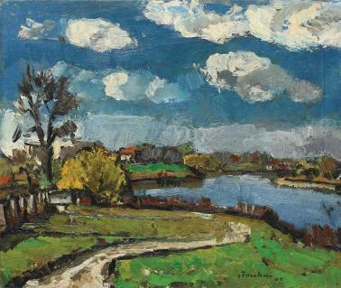 Ion Ţuculescu - Peisaj cu nori albi