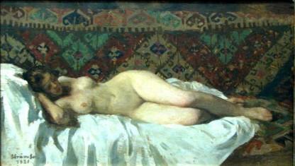 Ipolit Strâmbu  - Nud culcat pe fond de covor