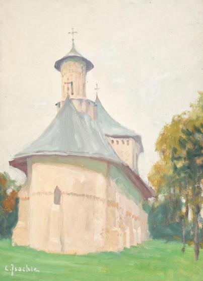 Constantin Isachie Popescu - Peisaj cu mănăstire (Sf. Nicolae din Suceava)