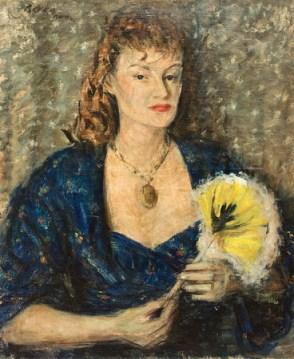 Dimitrie Berea - Femeie cu medalion si evantai galben