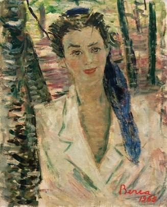 Dimitrie Berea - Portret de femeie cu esarfa albastra