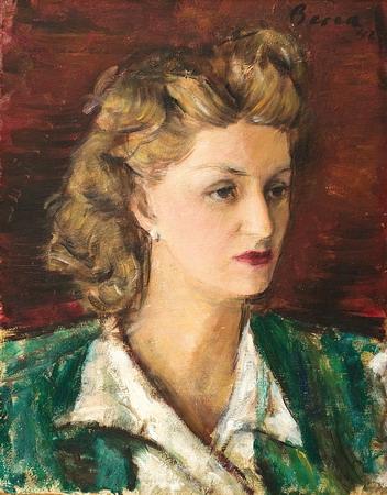 Dimitrie Berea - Portretul Mirei Simian, sotia poetului Stefan Baciu