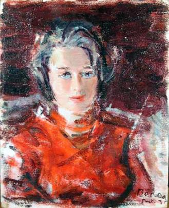 Dimitrie Berea - Young Girl in Red, Bucharest