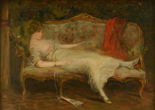 Emilian Lăzărescu - Femeie culcata pe canapea