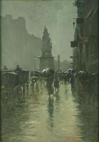 Emilian Lăzărescu - Strada pe ploaie