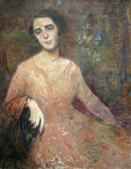 George Demtrescu Mirea - Doamna cu rochie roz