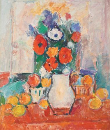 Ion Musceleanu - Natură statică cu flori şi fructe