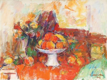 Ion Musceleanu - Natură statică cu fructieră și flori