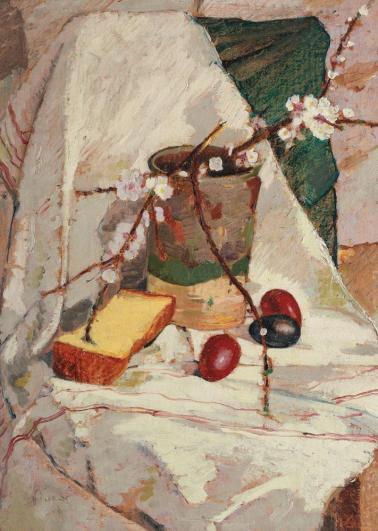 Nicolae Enea - Natură statică cu felie de cozonac și flori de măr