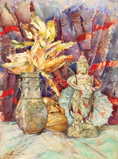 Nicolae Grant - Natură moartă cu artefacte orientale