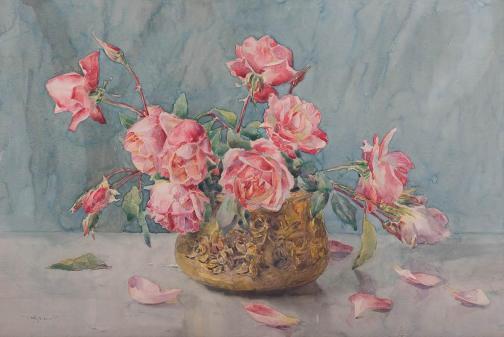 Nicolae Grant - Vas cu trandafiri roz