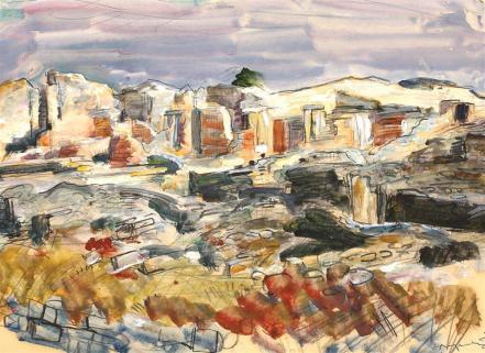 Octav Angheluţă - Peisaj meridional cu ruine