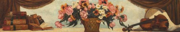 Rodica Maniu Mutzner - Natură statică cu vioară și flori (panou decorativ)
