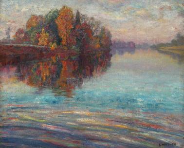Samuel Mützner - Efect de înserare pe lac