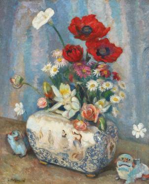 Samuel Mützner - Natură statică cu flori de câmp și jardinieră japoneză